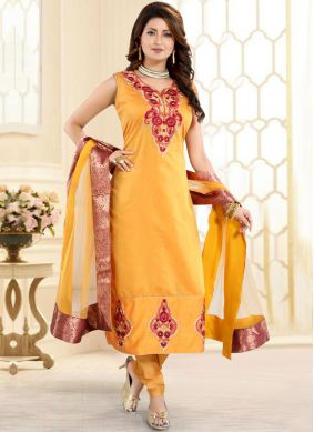 Yellow Fancy Churidar Designer Suit