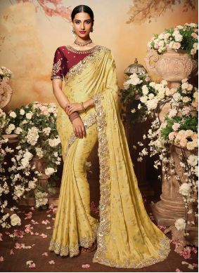 Yellow Fancy Georgette Designer Traditional Saree