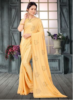 Yellow Faux Crepe Classic Designer Saree