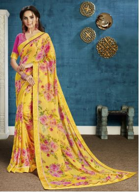 Yellow Festival Georgette Bollywood Saree