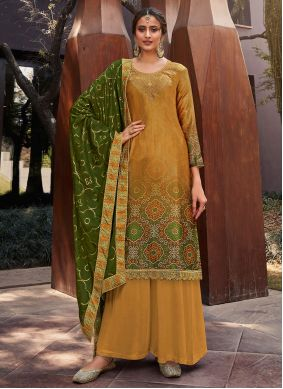 Yellow Festival Satin Designer Palazzo Suit