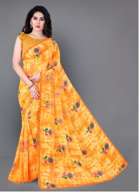 Yellow Floral Print Faux Georgette Classic Saree