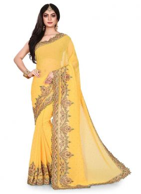 Yellow Georgette Designer Traditional Saree