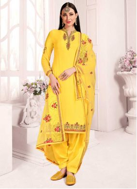Yellow Georgette Festival Designer Patiala Suit