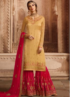 Yellow Georgette Satin Embroidered Designer Pakistani Suit