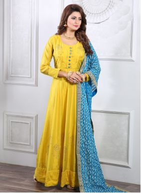 Yellow Handwork Ceremonial Readymade Gown