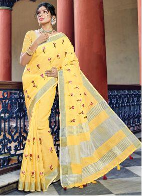 Yellow Mehndi Classic Saree
