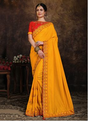 Yellow Poly Silk Embroidered Classic Designer Saree