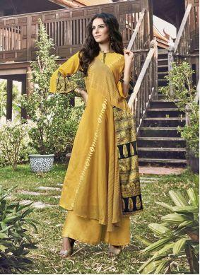 Yellow Printed Designer Kurti