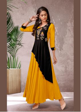 Yellow Rayon Embroidered Designer Kurti