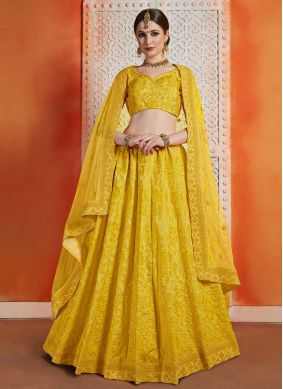 Yellow Reception Art Silk A Line Lehenga Choli