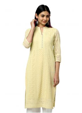 Yellow Resham Georgette Party Wear Kurti