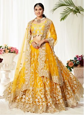 Yellow Resham Net Trendy Lehenga Choli