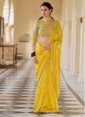 Yellow Sequins Work Organza Trendy Saree