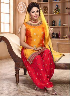Yellow Silk Embroidered Patiala Suit