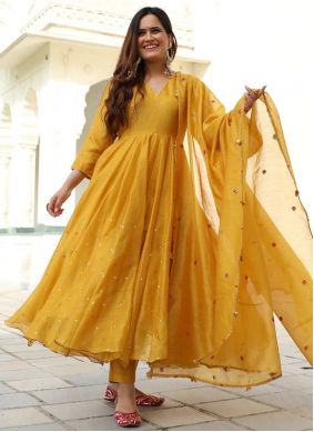 Yellow Silk Trendy Gown