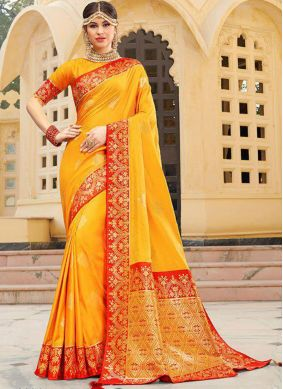 Yellow Silk Weaving Trendy Saree
