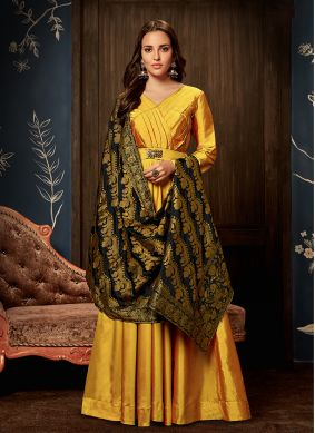 Yellow Tafeta silk Festival Readymade Gown