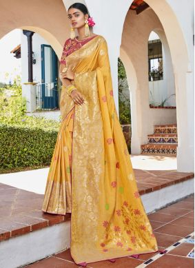 Yellow Thread Silk Classic Designer Saree