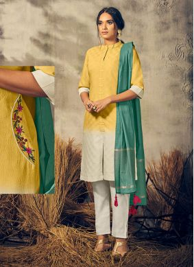 Yellow Viscose Party Designer Kurti