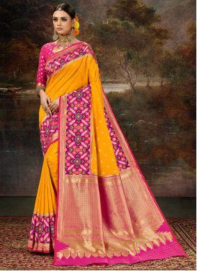 Yellow Weaving Work Banarasi Silk Saree