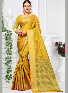Yellow Weaving Traditional Saree