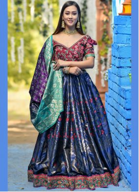 Zari Art Banarasi Silk Lehenga Choli in Blue