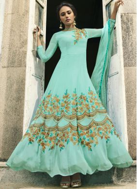 Zari Faux Georgette Floor Length Anarkali Suit in Blue