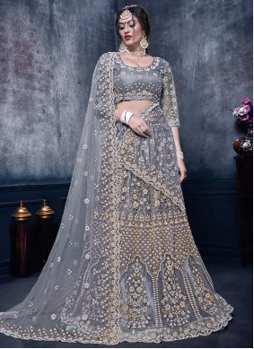 Zari Net Grey Trendy Lehenga Choli