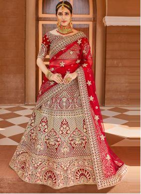 Zari Red Designer Lehenga Choli