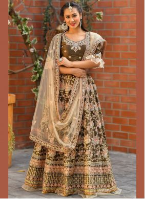 Zari Satin Trendy Lehenga Choli in Brown