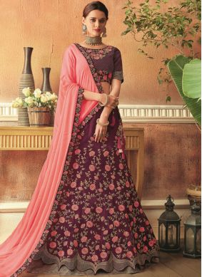 Zari Tafeta Silk Lehenga Choli in Wine