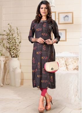 Zesty Rayon Print Party Wear Kurti