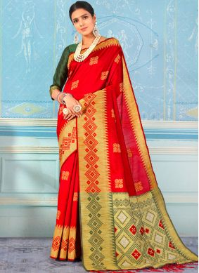 Zesty Red Weaving Designer Traditional Saree